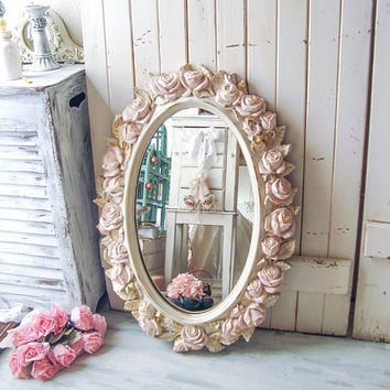 Vintage Rose Oval Cream and Blush Mirror, Pink and Gold Floral Ornate Mirror Shabby Chic Pink Nursery Mirror Wedding Mirror Baby Shower Gift