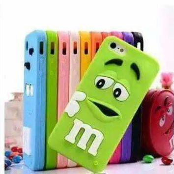 Cut Cartoon Rubber M&M Fragrance Chocolate Bean Case Soft Silicon M Rainbow Cover For iPhone 4 4S SE 5 5S 5C 6 6S 7 7S & Plus