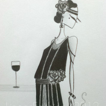 Fashion Illustration Flapper Art 1920s Dress by LinearFashions