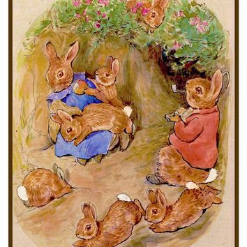 Bunny Rabbits Enjoy Family Time inspired by Beatrix Potter Counted Cross Stitch or Counted Needlepoint Pattern