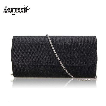 AEQUEEN Women Party Evening Clutch Bag Chains Small Luxury Style Ladies Handbag Bridal Purse Magnetic Button Shoulder Bag