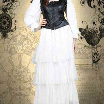 White Bustle Skirt with Faux Leather Jacket Steampunk Dress Ensemble