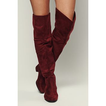 Savanna Faux Suede Boots (Burgundy)