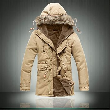 2016 New Military Army Style Solid Winter Parka Jackets Fashion Warm Tooling Thick Overcoat
