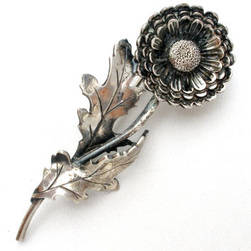 Sterling Silver Flower Brooch Pin Sarah Coventry Vintage