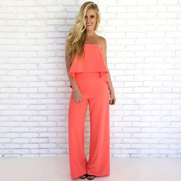 Pop of Coral Wide Leg Jumpsuit