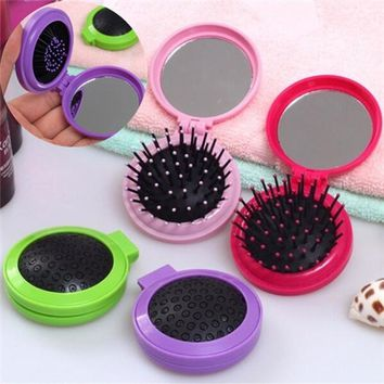 Cute Portable Round Comb Mirror Folding Compact Hairbrush with Mini Makeup Mirror