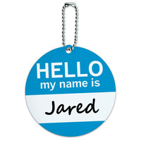 Jared Hello My Name Is Round ID Card Luggage Tag