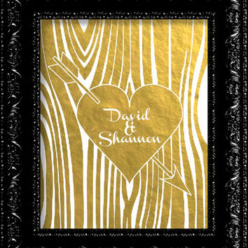 Personalized Wedding Tree Trunk - Lovers Heart and carved initials - Faux GOLD FOIL Art Print Poster Giclee - Gold 8x10 - 11x14