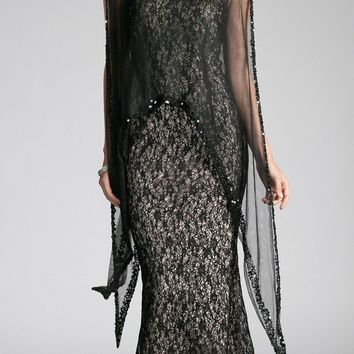 Black Lace Mermaid Evening Gown with Sheer Cape