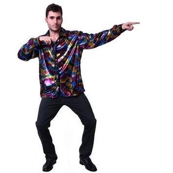 Mens Popular Disco Costume Adult Funny Halloween Hippie Cosplay Party Fancy Dress With Deluxe Shirt