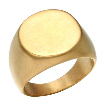 Men Club Pinky Round Signet Ring Personalized Ornate Stainless Steel Band Anillos Gold Tone Male Jewelry (Add $1 Laser Engrave)