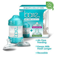 Bare® Baby Bottle w/ Breastfeeding & Bottle Feeding Nipples - Patented Air Free & Flow Control Technology - Perfect Baby Registry Shower Gift - 4 Oz Bottle Pack