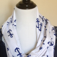 Nautical blue infinity scarf, blue anchor infinity scarf, jersey knit scarf, infinity scarf, bridesmaid gift