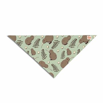"Stephanie Vaeth ""Kiwi Bird"" Brown Green Illustration Pet Bandana"