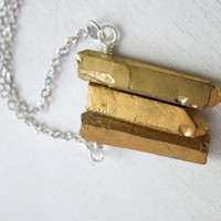 Gold Titanium Quartz Necklace - Natural Quartz With Golden Titanium Pendant Necklace Silver Chain no.5
