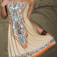 Totem Printed Strapless Boho Dress