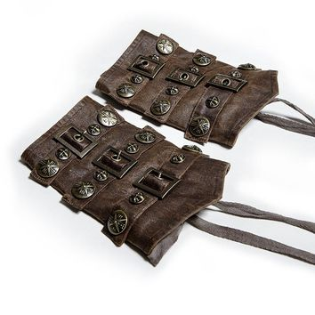 Steampunk Faux Leather Bracers Brown