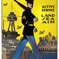WWI Poster U.S. Marines Active Service Land, Sea, Air