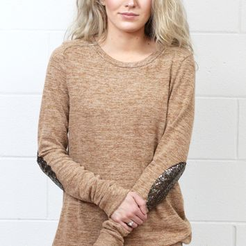 Hacci Sweater with Sequin Elbow Patches {Camel}