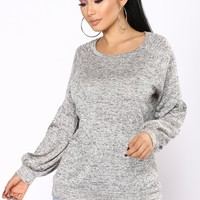 Still Stuck On You Long Sleeve Top - Heather Grey