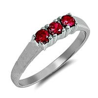 Sterling Silver Ruby Red CZ Three Stones Ring Size 1-5