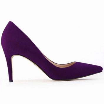 Classic Sexy Pointed Toe mid High Heels Women Pumps Shoes Faux Suede Wedding Pumps Big Size 35-42 10 Color 952-1VE