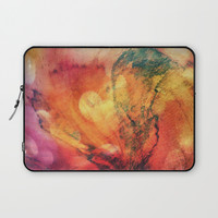 A leaf In The Wood Aflame Abstract Laptop Sleeve by minx267