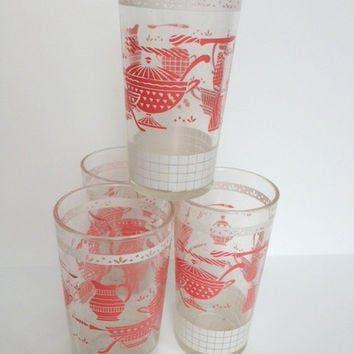 Set of 4 Vintage Glasses, jelly glasses, shabby chic kitchenware, pink glasses