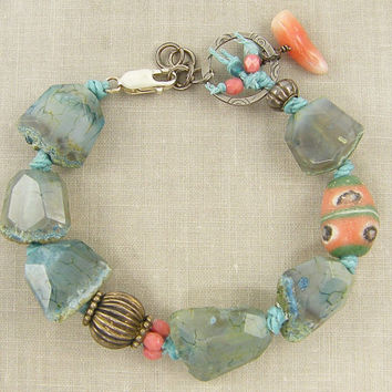 Chunky Blue Banded Agate Aqua Gemstone Bracelet with Coral and Sterling Silver Beads Boho Jewelry