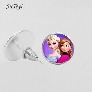 ac spbest SUTEYI Vintage Elsa Anna Cute Girls Art Earrings Glass Dome Earring Jewelry Handmade Stud Earrings Children Christmas Gift