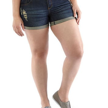 Plus-Size Daisy Duke Denim Shorts - Rainbow