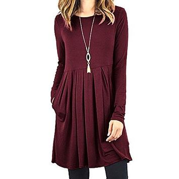 Fanfly Women ShortLong Sleeve Loose Casual Pleated Swing Dress with Pockets