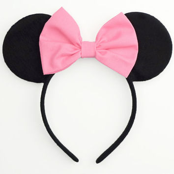 Minnie Mouse Ears Pink Mickey Ears Headband Mouse Ears Halloween Costume Pink Minnie Ears Pink Minnie Mouse Bow Pink Minnie Mouse Outfit