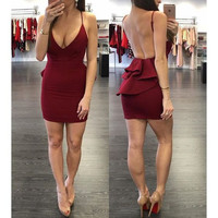 Sexy Summer Women's Fashion Backless One Piece Dress [9342353028]
