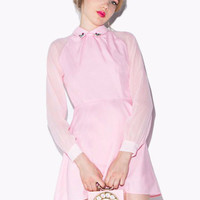 Pink Floral Rhinestone Collar Patch Long Cuff Sleeve Mini Dress