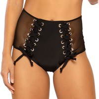 Tie Me Up Mesh High Waist Rave Booty Shorts