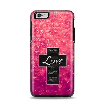 The Love is Patient Cross over Unfocused Pink Glimmer Apple iPhone 6 Plus Otterbox Symmetry Case Skin Set