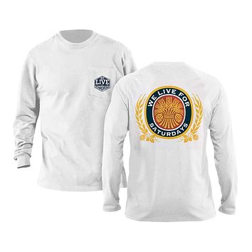 Wheat & Oats Long Sleeve Tee in White by We Live For Saturdays