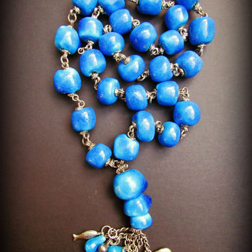 BRIGHT BLUE CERAMIC~ Bohemian Necklace~Aqua-Blue Necklace~Long~Boho~Hippie Tassel Jewelry~Boho Love~