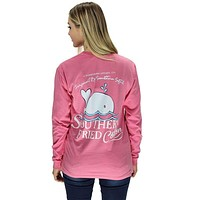 Baby Whale Long Sleeve Tee Shirt in Crunchberry by Southern Fried Cotton