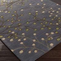 Athena Area Rug   Gray Floral and Paisley Rugs Hand Tufted   Style ATH5125
