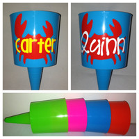 Monogrammed Crab Beach Spiker - Neon Pink Blue Green Orange - Personalized and Custom Made With Your Name or Monogram