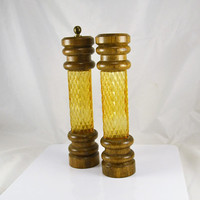 Tall Salt Pepper Grinder - Amber Gold Glass & Wood - Mid Century Modern Table - 10 Inches Tall - RARE Find!