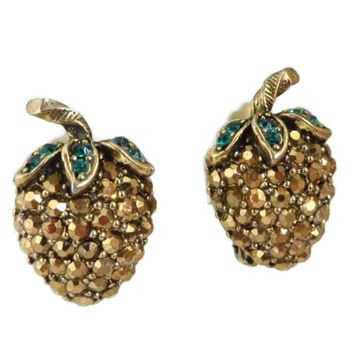 Weiss  Strawberry Earrings  Vintage Signed Weiss Gold Tone Green Rhinestone Clip-on Earrings