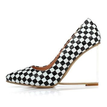 Caren Women Clear Plaid Wedge Heel Pump