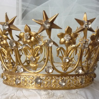 Antique Crown Tiara French Fleur de Lis Lilies Ormolu & Rhinestones Circa 1850