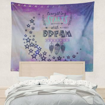 Blue Water Color Moon Crescent Dream Moon Purple Wall Tapestry Pastel Blue Wall Hanging