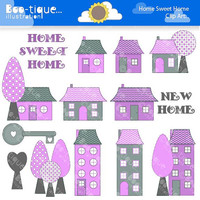 Housewarming Digital Clipart for Instant Download. Pink New Home Clipart. Housewarming Clip Art. Home Sweet Home Clipart. Digital Clipart.