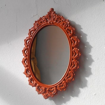Filigree Wall Mirror in Small Vintage Oval Frame, Burnt Orange Decor, Decorating Ideas